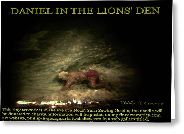 Microscopic Art Sculptures Greeting Cards - Daniel In The Lions Den Info Photo No.1  Greeting Card by Phillip H George