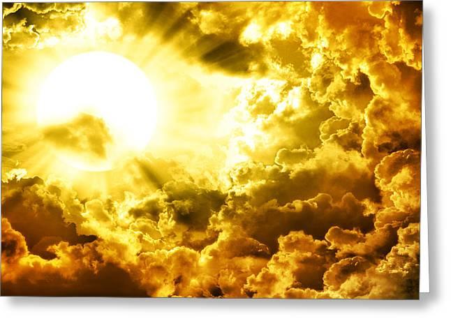 Dark Sky With Sun Greeting Card by Nattapon Wongwean