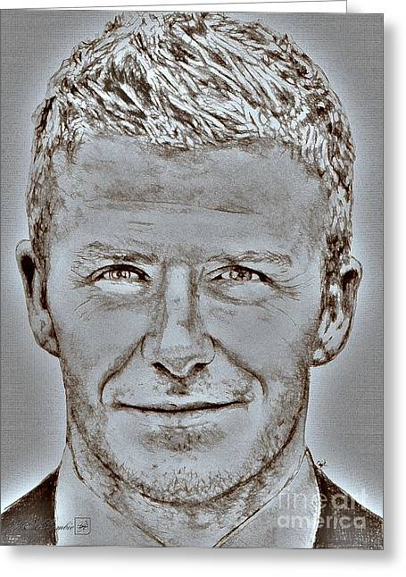 Jem Fine Arts Mixed Media Greeting Cards - David Beckham in 2009 Greeting Card by J McCombie