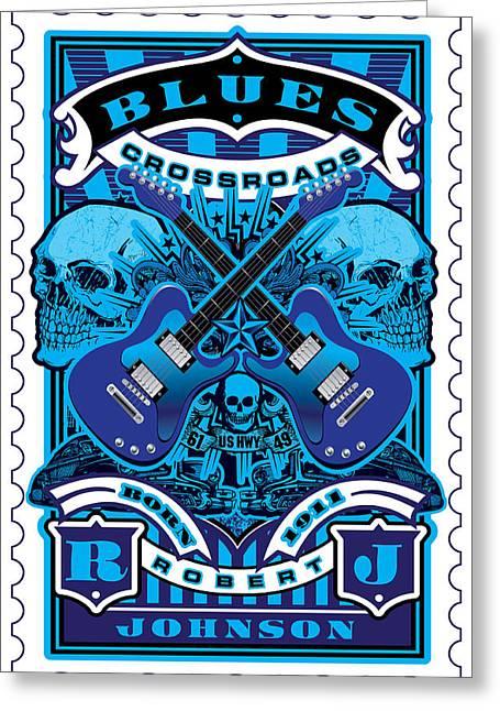 David Cook Umgx Vintage Studios Blues Crossroads Illustrated Stamp Art Poster Greeting Card by David Cook  Los Angeles Prints