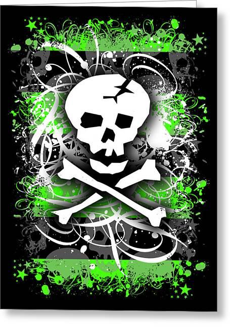 Alternative Skull Greeting Cards - Deathrock Skull Greeting Card by Roseanne Jones