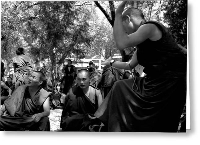 Debate with lama Greeting Card by Lian Wang
