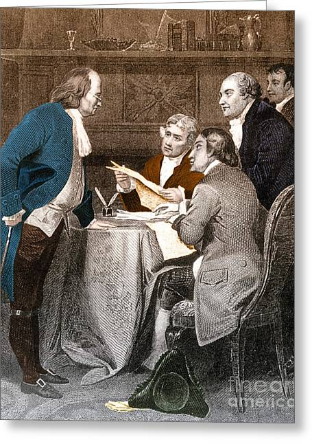 Roger Sherman Greeting Cards - Declaration Committee Greeting Card by Photo Researchers