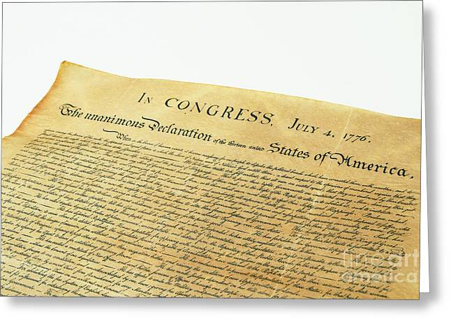 4th July 1776 Greeting Cards - Declaration Of Independence Greeting Card by Photo Researchers, Inc.