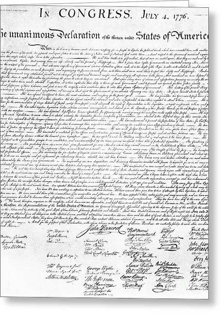 Historical Documents Greeting Cards - Declaration Of Independence Greeting Card by Photo Researchers