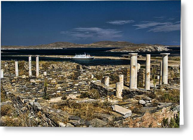 Grecean Greeting Cards - Delos Island Greeting Card by David Smith