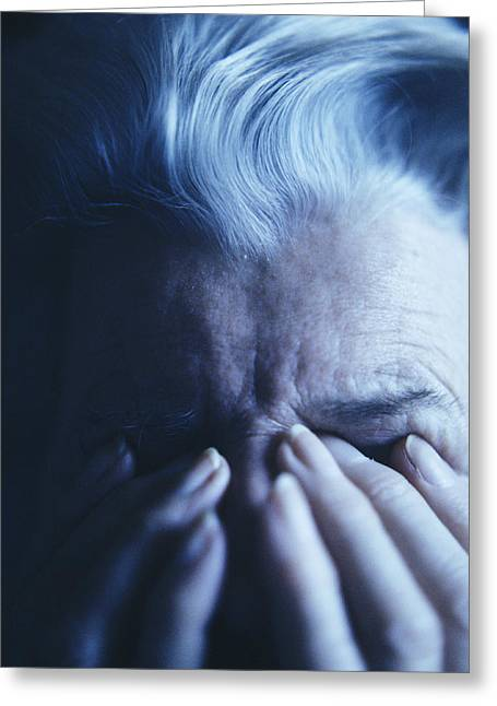21st Greeting Cards - Depressed Elderly Woman Greeting Card by Cristina Pedrazzini