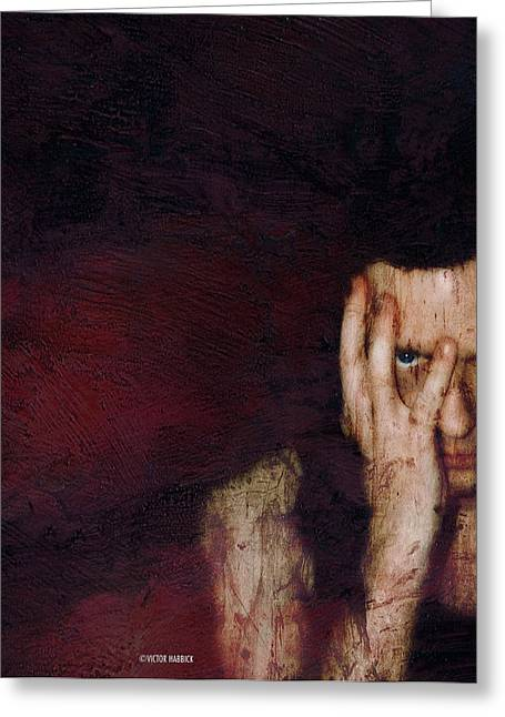Problem Greeting Cards - Depressed Man Greeting Card by Victor Habbick Visions