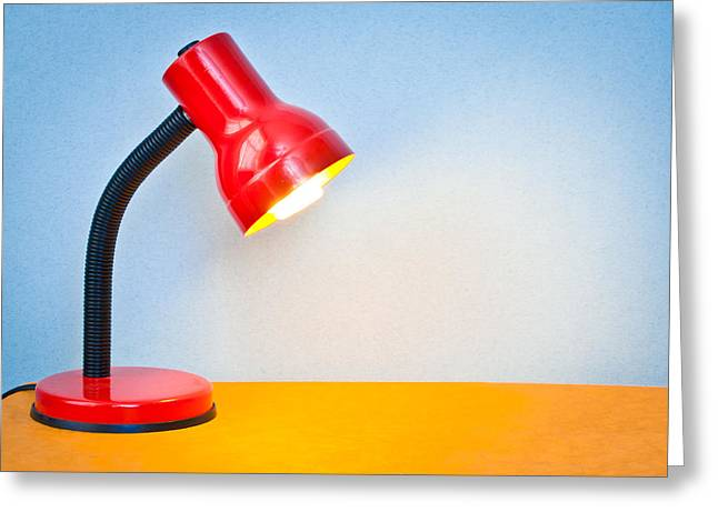 Tungsten Greeting Cards - Desk lamp Greeting Card by Tom Gowanlock