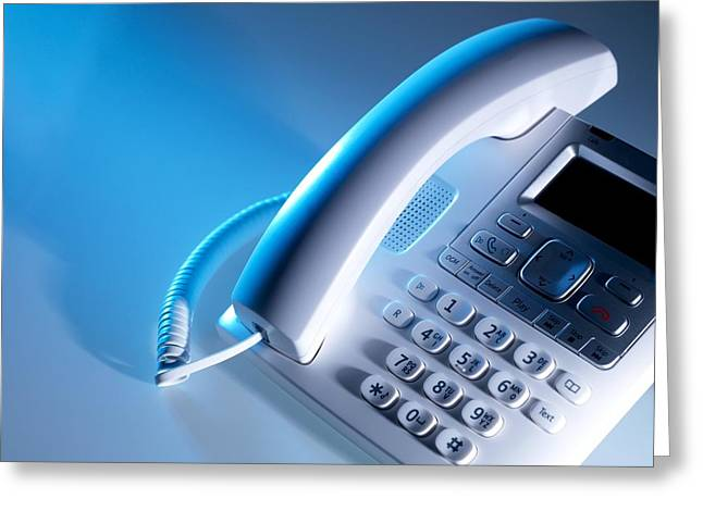 Technological Communication Greeting Cards - Desk Telephone Greeting Card by Tek Image