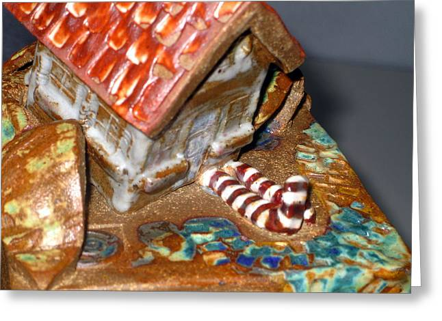 Courage Ceramics Greeting Cards - DETAIL House that Fell on Wicked Witch Treasure Chest Greeting Card by Chere Force
