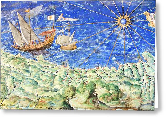 Genoese Greeting Cards - Detail Of 16th Century Map Of Liguria Greeting Card by Sheila Terry