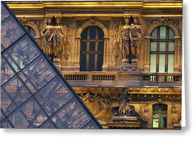 Detail Of The Glass Pyramid Outside The Greeting Card by Axiom Photographic