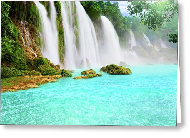Sunny Photographs Greeting Cards - Detian waterfall Greeting Card by MotHaiBaPhoto Prints