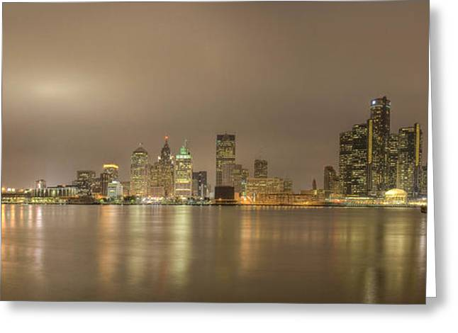 Detroit River Greeting Cards - Detroit at night Greeting Card by Andreas Freund