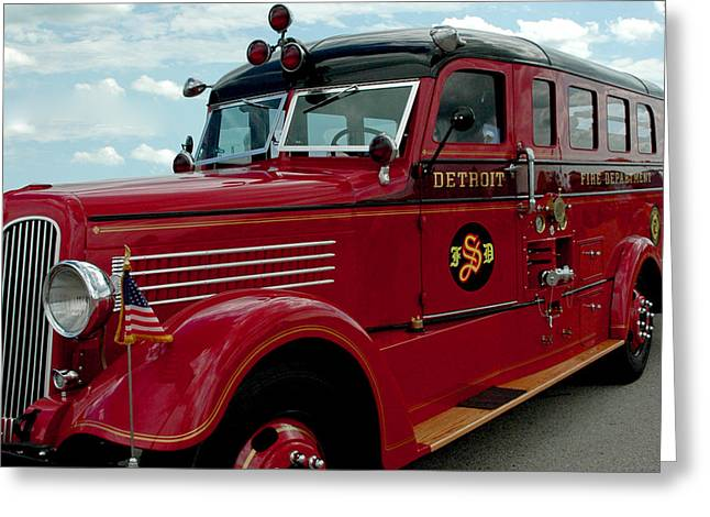 Brigade Greeting Cards - Detroit Fire Truck Greeting Card by LeeAnn McLaneGoetz McLaneGoetzStudioLLCcom
