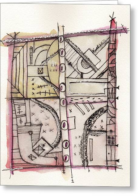 Outsider Mixed Media Greeting Cards - Development Las Vegas Strip 2 Greeting Card by Mark M  Mellon