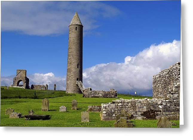 Headstones Greeting Cards - Devenish Monastic Site, Co. Fermanagh Greeting Card by The Irish Image Collection