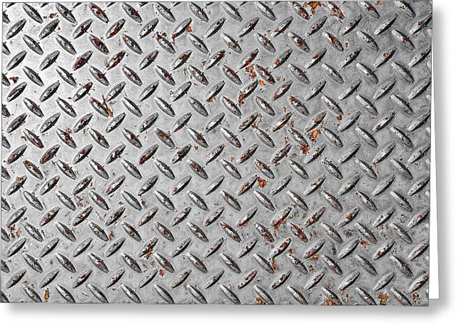 Checkerboard Floor Greeting Cards - Diamond Plate Background Greeting Card by Brandon Bourdages