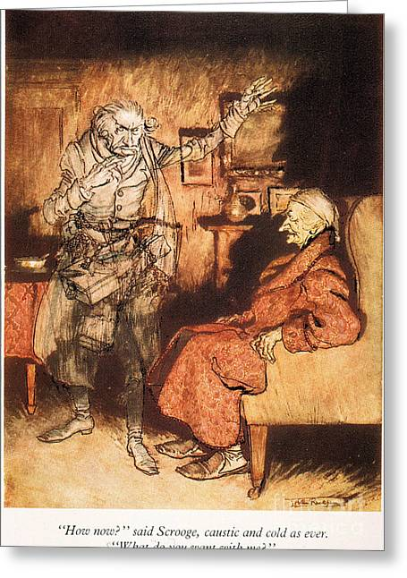 Ghost Illustration Greeting Cards - Dickens: A Christmas Carol Greeting Card by Granger
