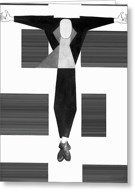 Crucify Digital Art Greeting Cards - Die for our Cents Greeting Card by Matthew OHair
