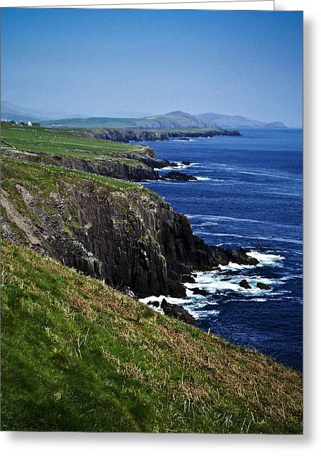 Blue Green Wave Greeting Cards - Dingle Coastline near Fahan Ireland Greeting Card by Teresa Mucha