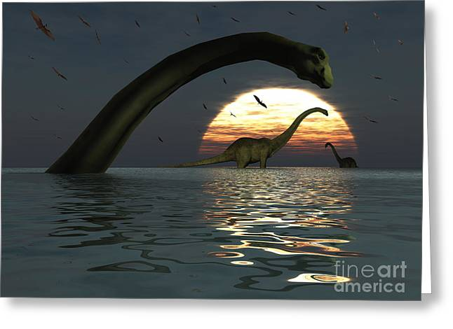 Primeval Greeting Cards - Diplodocus Dinosaurs Bathe In A Large Greeting Card by Mark Stevenson