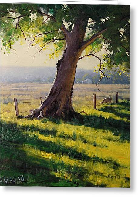 Afternoon Light Greeting Cards - Distant Farm Greeting Card by Graham Gercken