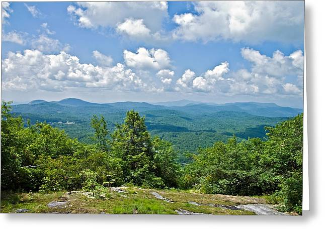 Susan Leggett Greeting Cards - Distant Mountain View with Clouds Greeting Card by Susan Leggett