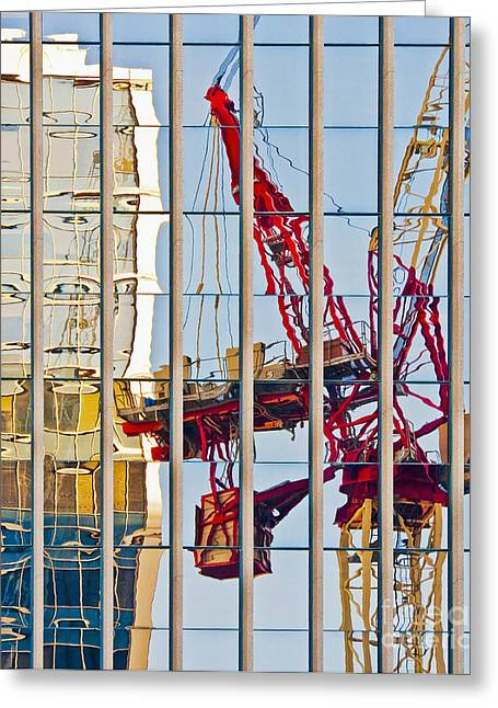 Tower Crane Greeting Cards - Distorted Reflection of a Tower Crane Greeting Card by Thom Gourley/Flatbread Images, LLC