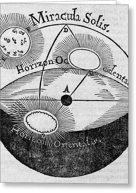 Distortion Greeting Cards - Distortion Of The Sun, 17th Century Greeting Card by Middle Temple Library