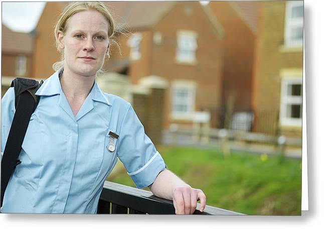 District Nurse Greeting Cards - District Nurse Greeting Card by Tek Image