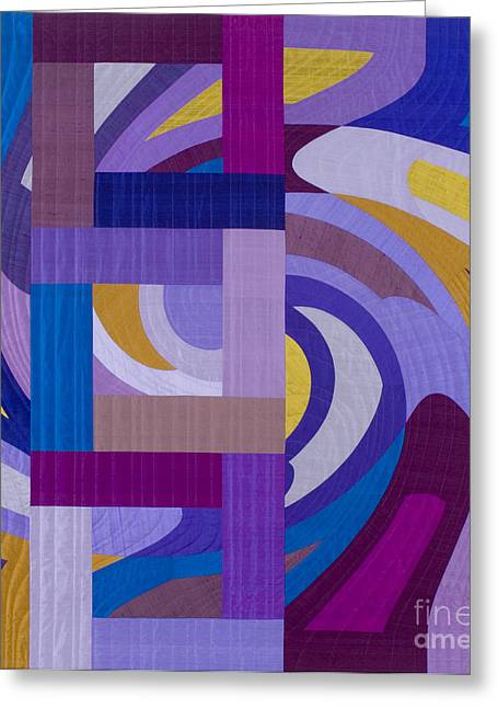 Abstract Quilt Tapestries - Textiles Greeting Cards - Disturbances 8 Greeting Card by Marilyn Henrion