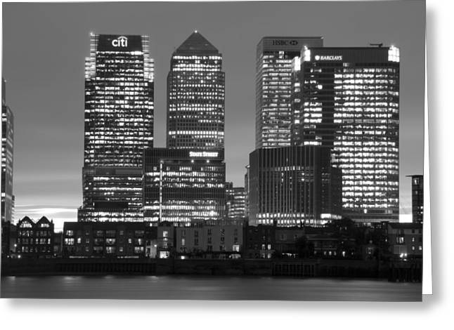 Citi Greeting Cards - Docklands Canary Wharf sunset BW Greeting Card by David French