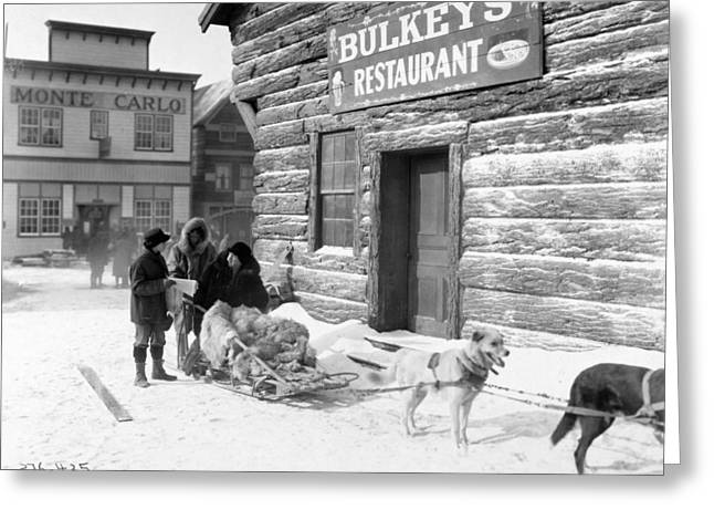 Klondike Gold Rush Greeting Cards - Dog Sled Greeting Card by Granger