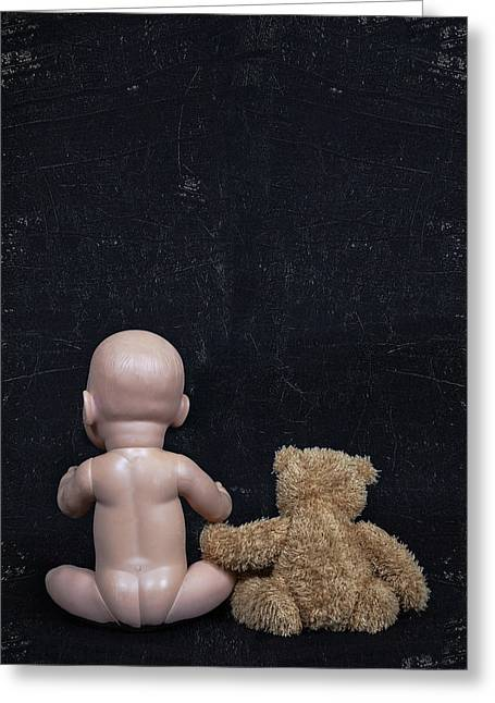 Baby Doll Greeting Cards - Doll And Bear Greeting Card by Joana Kruse