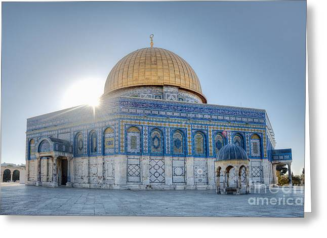Desert Dome Greeting Cards - Dome of the Rock Greeting Card by Noam Armonn