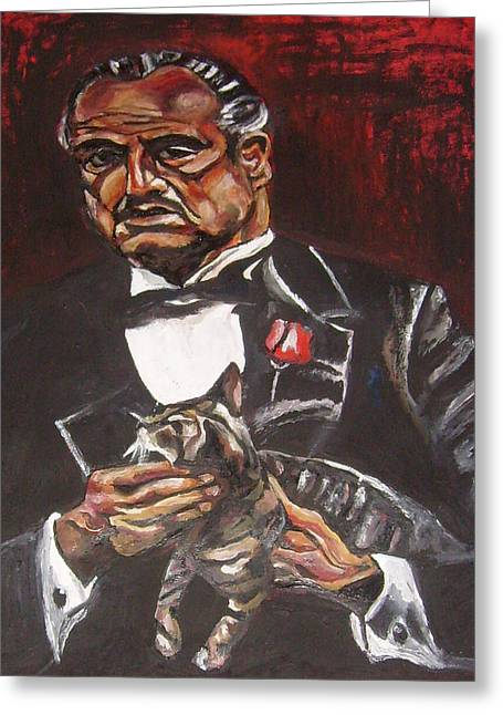 Don Vito Corleone Greeting Cards - Don Vito Corleone With A Cat Greeting Card by Sanja  Prsic