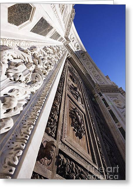 Wooden Sculpture Greeting Cards - Doorway of the Renaissance Church of Santa Croce Greeting Card by Jeremy Woodhouse