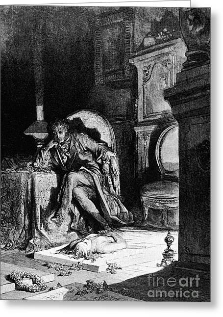 Dore Greeting Cards - DorÉ: The Raven, 1882 Greeting Card by Granger