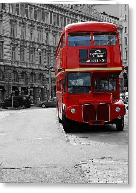 Helsinki Finland Greeting Cards - Double Decker Bus Greeting Card by Sophie Vigneault