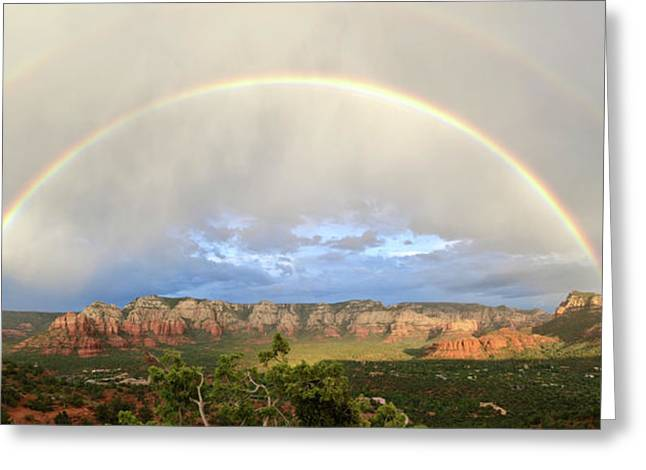 Double Rainbow Over Sedona Greeting Card by David Sunfellow