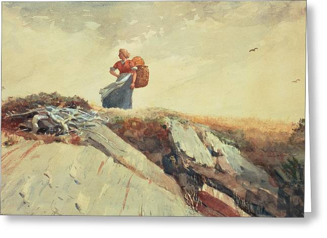 Apron Greeting Cards - Down The Cliff Greeting Card by Winslow Homer