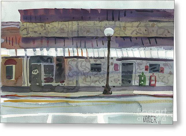 This Greeting Cards - Downtown Diner Greeting Card by Donald Maier