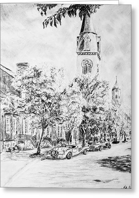 Downtown Drawings Greeting Cards - Downtown Fred Greeting Card by Nathan Barnes