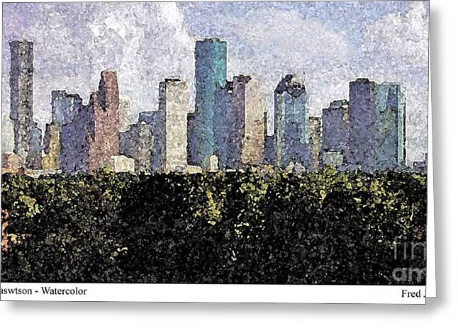Artest Houston Rockets Greeting Cards - Downtown Houston Greeting Card by Fred Jinkins