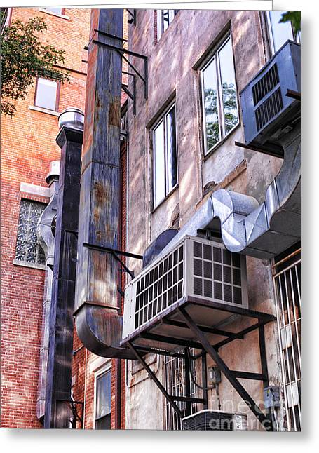 Air Conditioner Greeting Cards - Downtown Northampton - Alley Greeting Card by HD Connelly