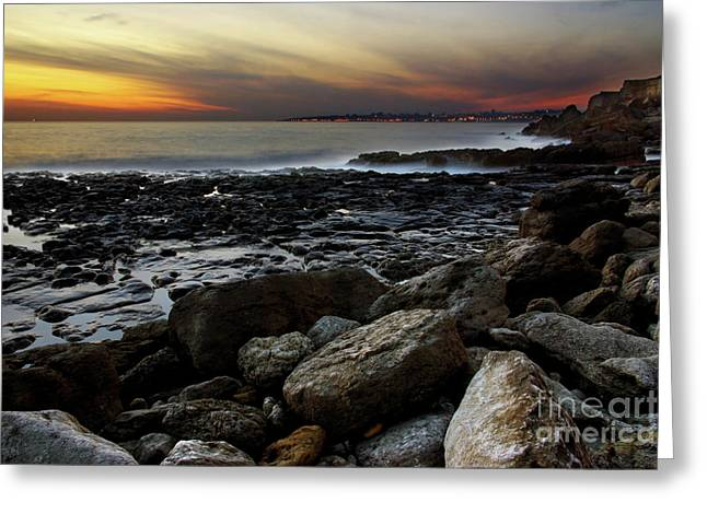 Sunset Abstract Greeting Cards - Dramatic Coastline Greeting Card by Carlos Caetano
