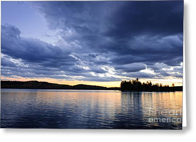 Algonquin Park Greeting Cards - Dramatic sunset at lake Greeting Card by Elena Elisseeva