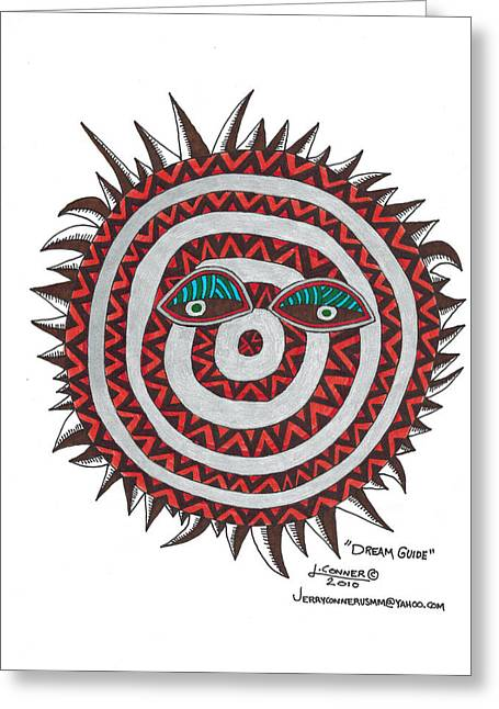 Surreal Landscape Drawings Greeting Cards - Indian Mask Greeting Card by Jerry Conner